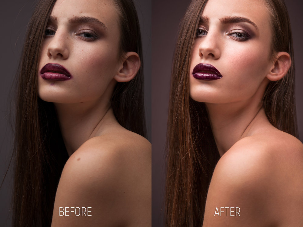 Brightness, contrast and color correction. Scar, hair strings, birthmarks, freckles, skin bumps removed and eyebrows thinned. Removed lipstick smudges around her mouth. Equalized and colorized the lips, emphasizing their glossiness. Brightened and added more color to her eyes, darkened the skin around the corners of her eyes to complement and emphasize her existent makeup. Contoured the eyebrow shape, matched the skin color by painting with pink, dodged and burned using white and black paint brush on a 50% gray layer in Overlay blending mode. Used Liquify to make the ear smaller and her nose more curved. Added sharpness on a few facial features using High Pass filter and masks. Changed background color and luminosity to match her lipstick.