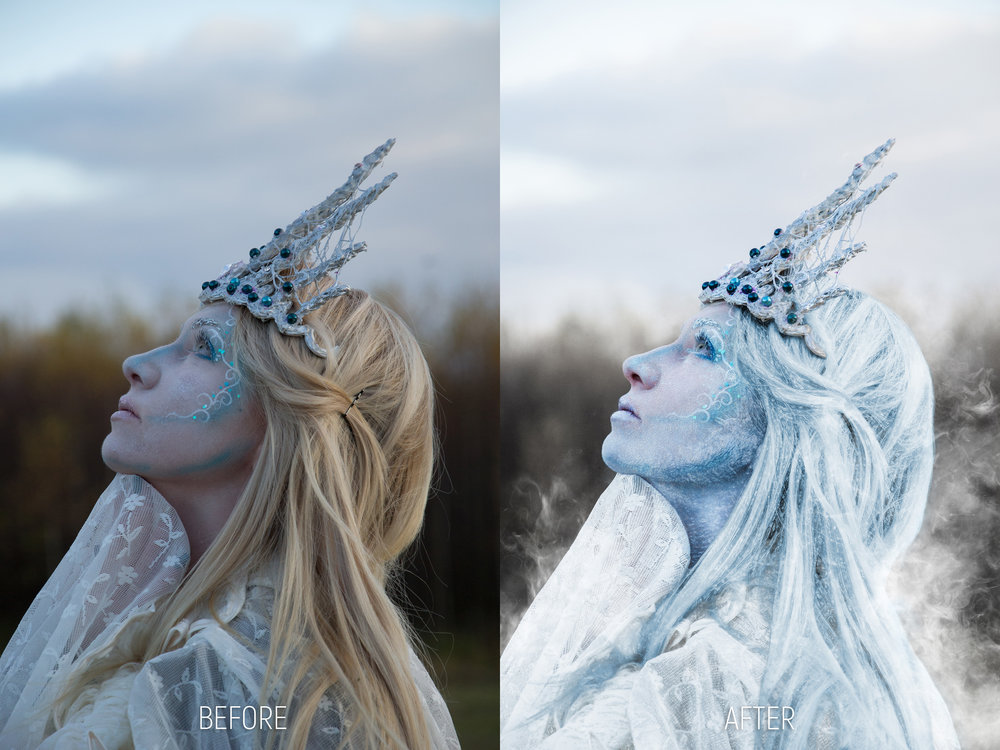 Brightness, contrast, color correction. Removed skin blemishes, hair strings and the hair clip. Desaturated and gave the background a winter look. Added frozen effects on her hair and face; added mist and steam using special effects brushes.