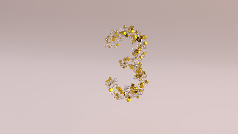 Experiment using three basic shapes to populate a dynamic Cloner object in Cinema 4D, rendered in Octane.