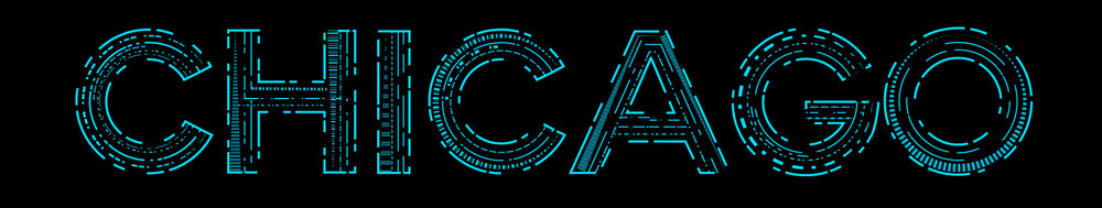 Futuristic lettering design for the city of Chicago, developed in Adobe Illustrator.