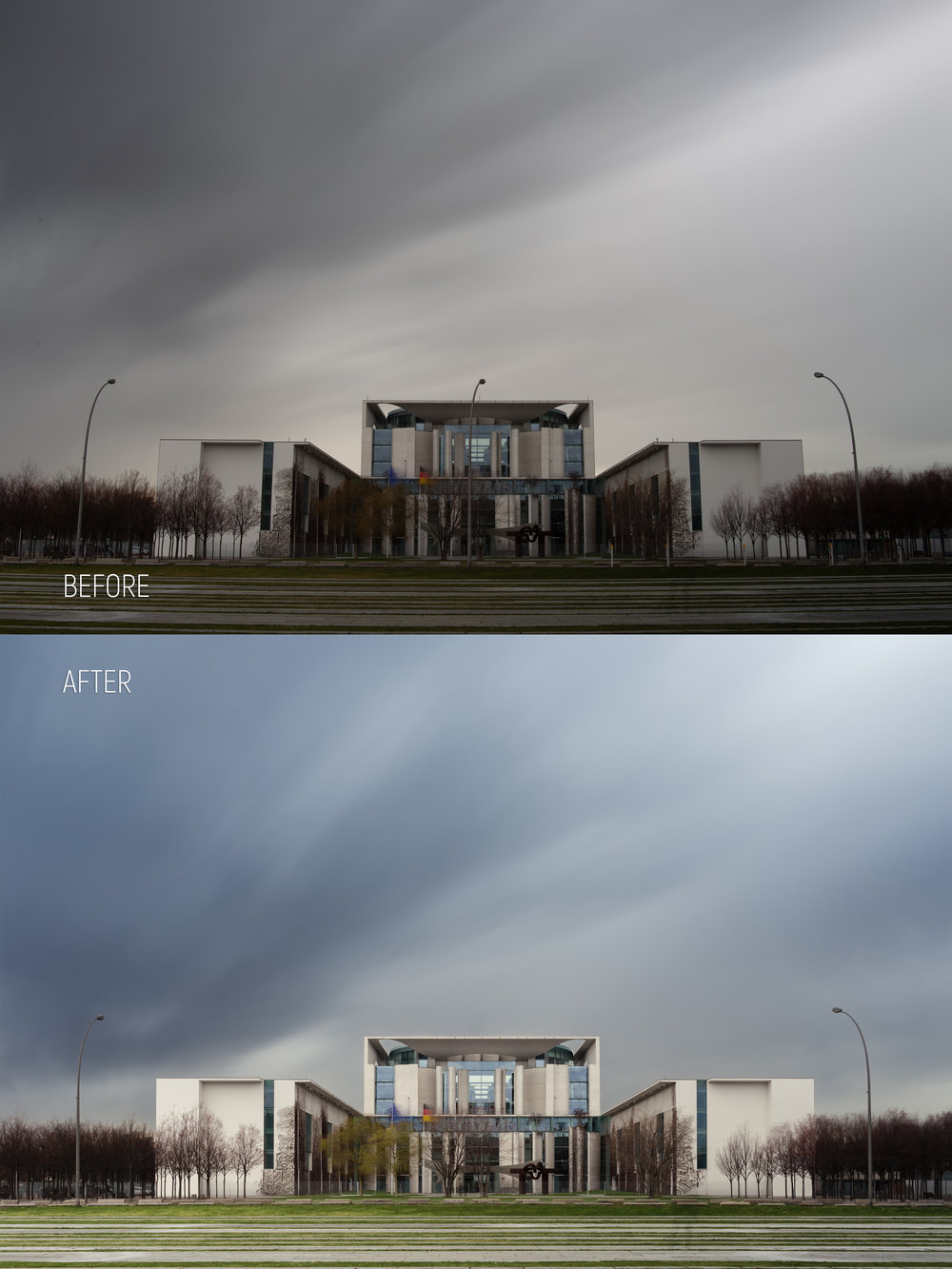 Perspective and lens correction. Removed light pole in the middle and smaller poles in front of the building. Replaced and color corrected the sky. Brightness and color corrected the building, color corrected the grass and pavement.