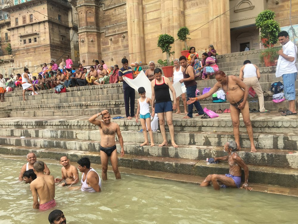 Pilgrims enjoying the Ganges at Varanasi, India