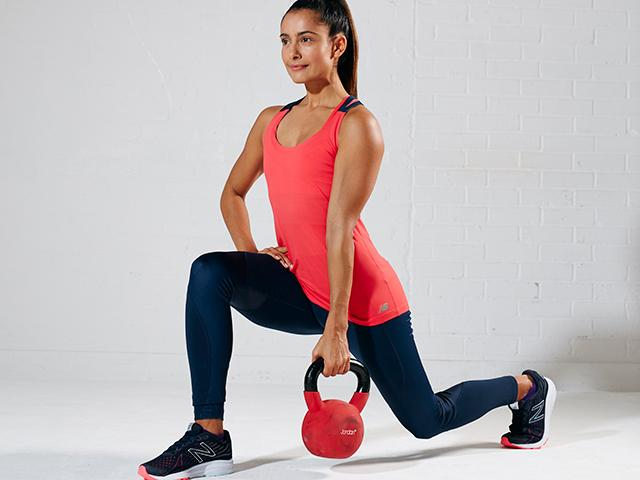 Step Back Lunge - although a knee dominant movement (usually recruiting more of the quadriceps), a longer stride lunge will demand more from the glute and hamstring muscles. Make sure you drive through the heel to stand up. Carrying a kettle bell on one side enables you to enhance contralateral stability demanding more from your core.