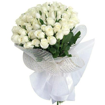 A Bouquet hand tied with Beautiful White Roses called - Elfin Beauty