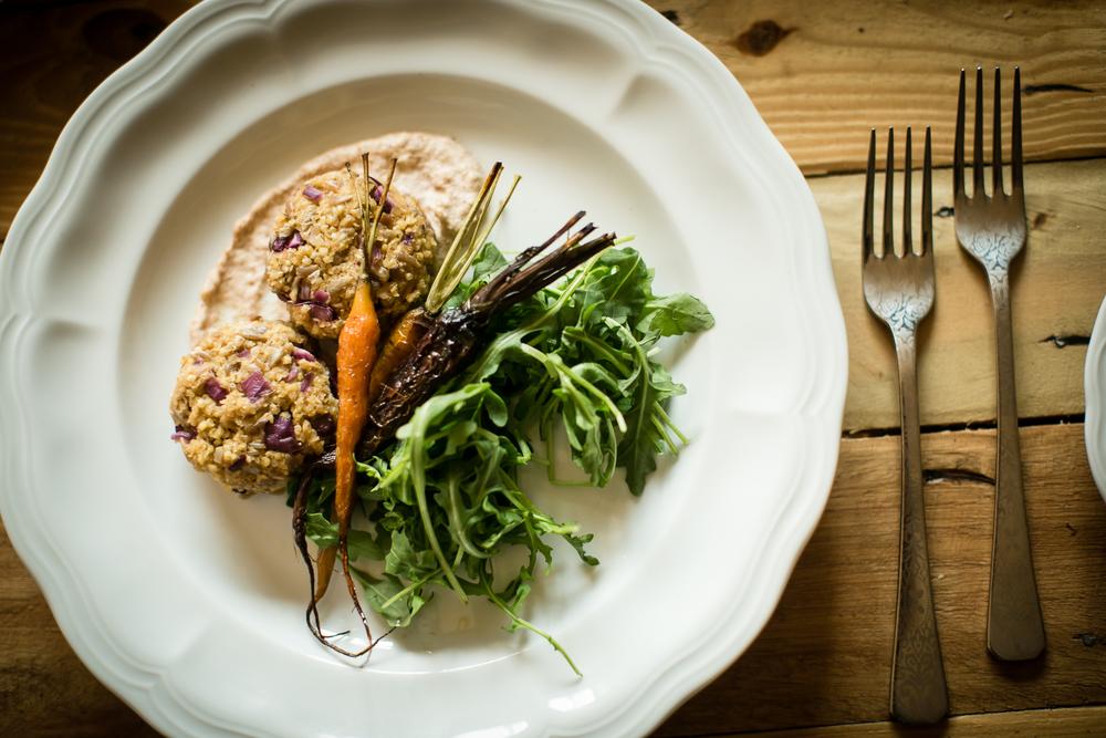 Bone Broth Millet Cakes w/Almond Horseradish Aioli + Roasted Carrots