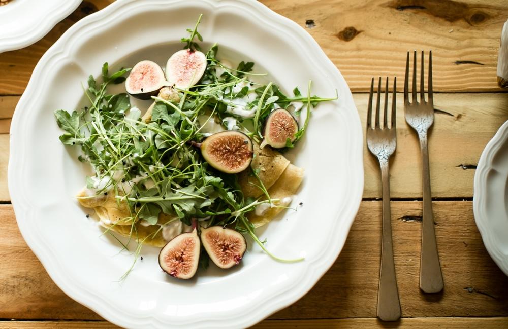 Squash Shawarma w/Figs, Coconut + Arugula on Chickpea Flatbread