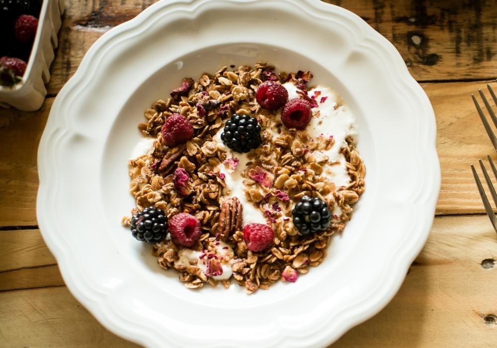 Pecan Granola w/Raspberries, Coconut Yogurt + Rose Petals