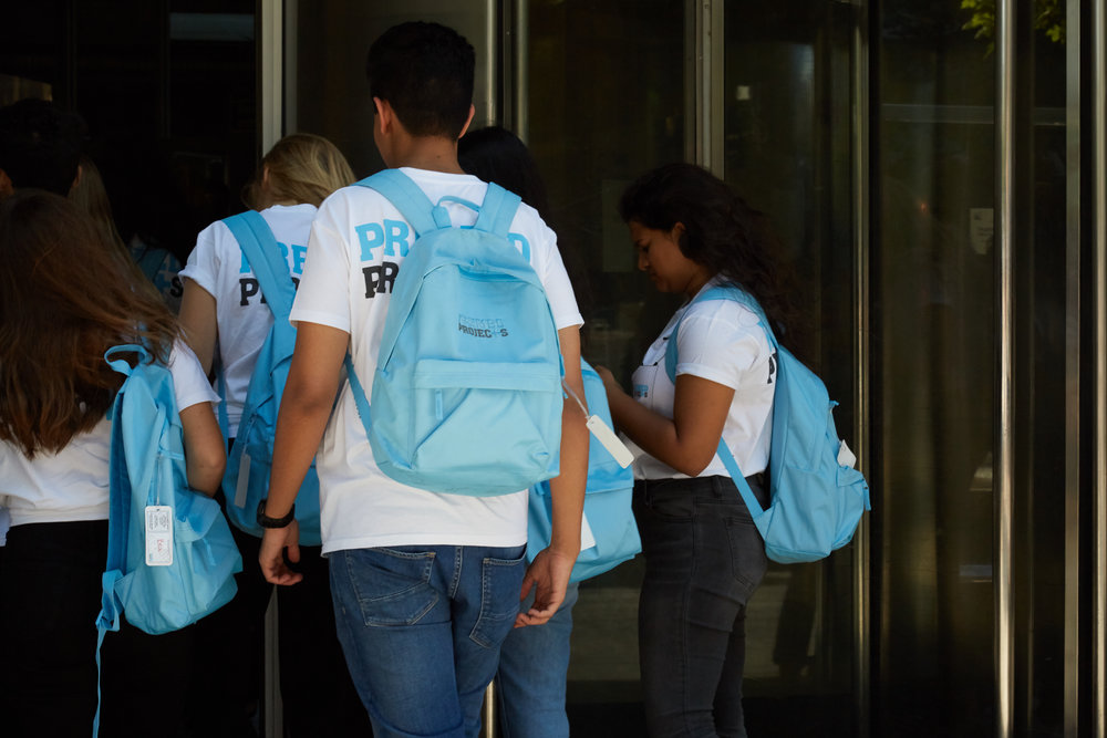 Hospital Experience students entering a hospital