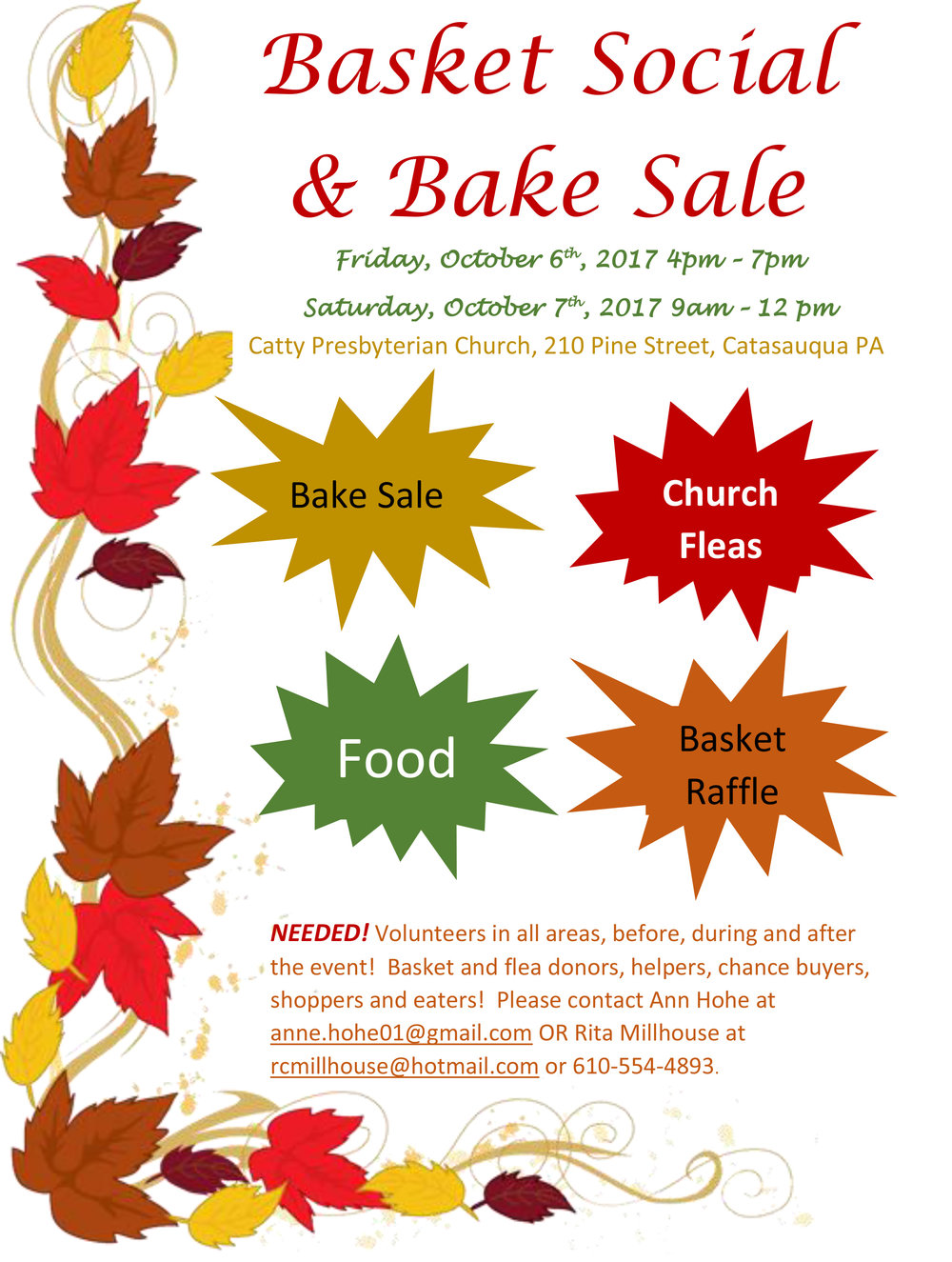 basket social and bake sale