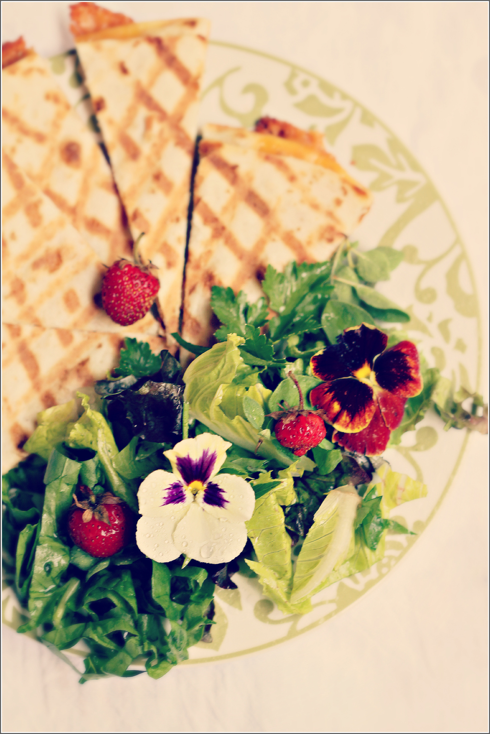 Quesadillas with Salad & Berries