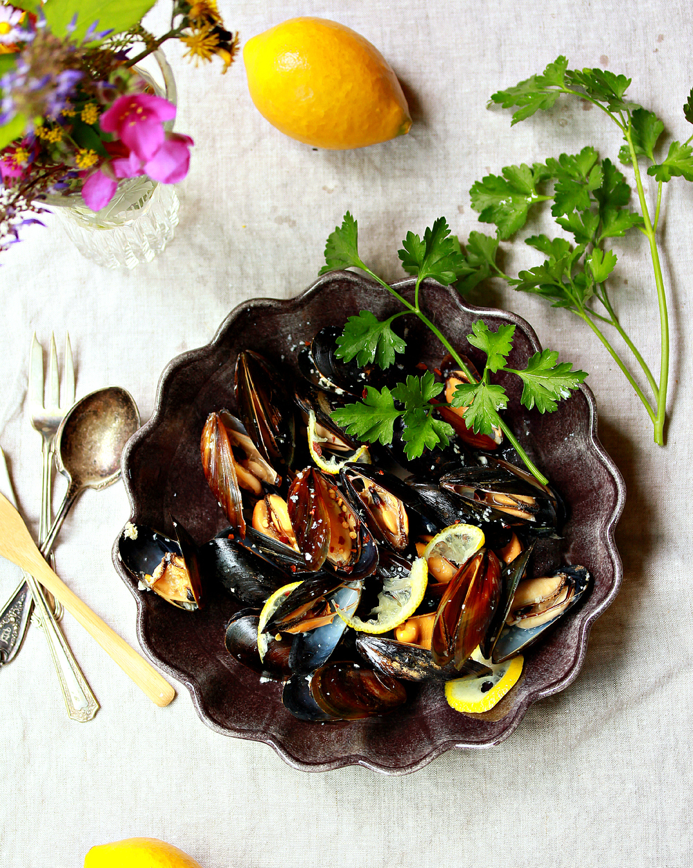 Mussels Steamed in Wine with Lemon & Parsley by Dena T Bray
