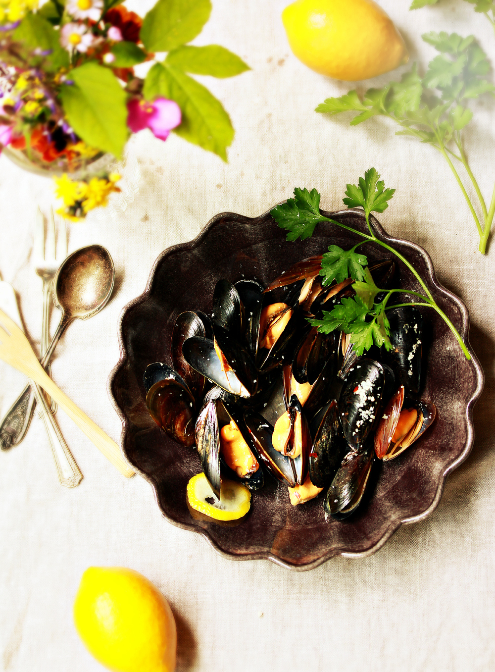 Steamed Mussels Dinner Scene by Dena T Bray