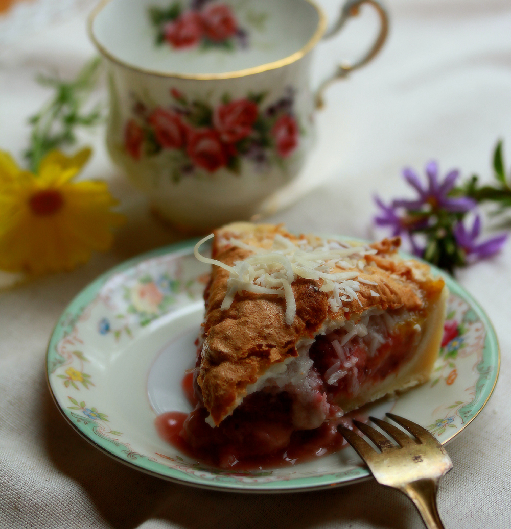 Strawberry Macaroon Tart with Tea by Dena T Bray