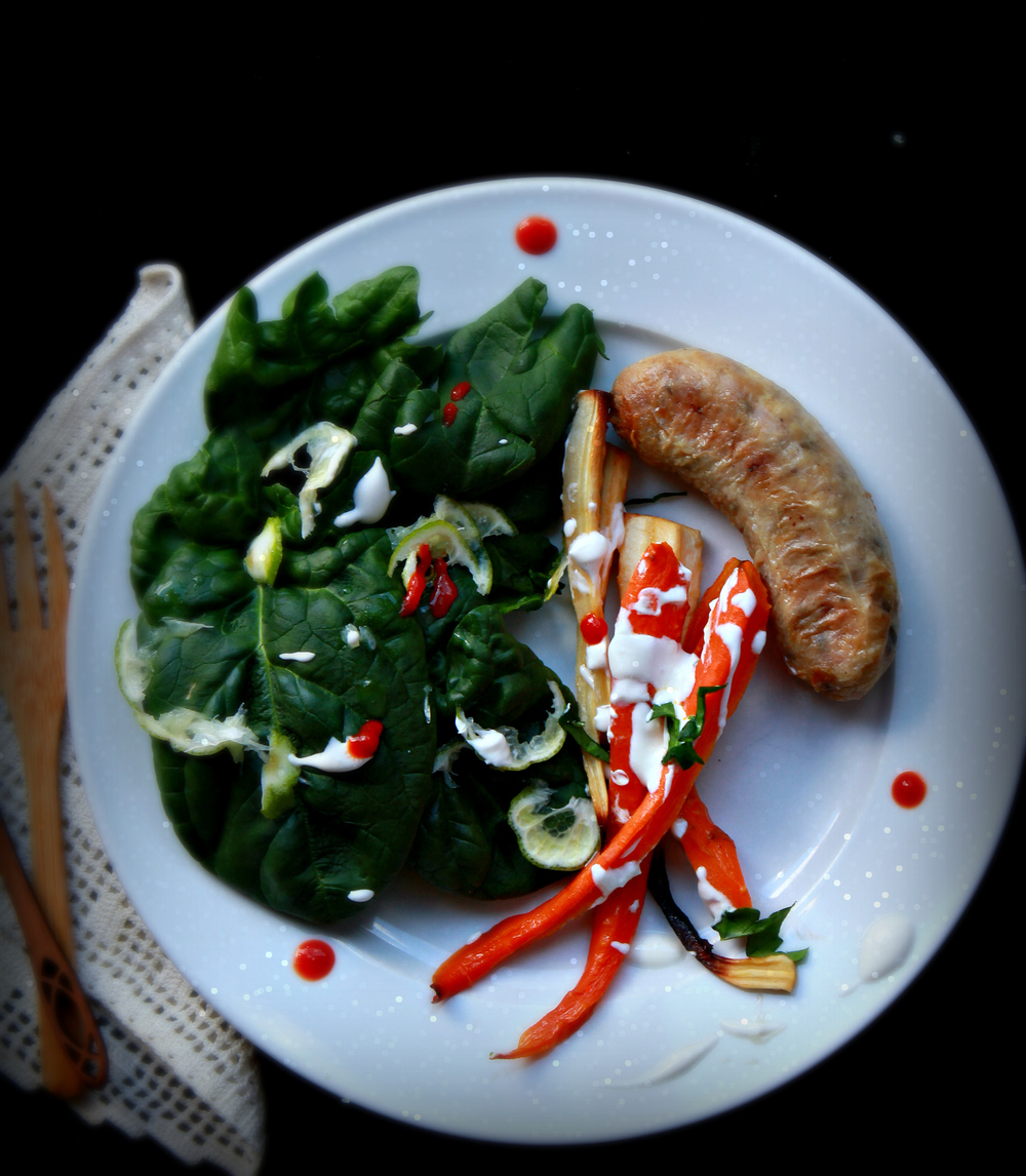 �Maple Sriracha Vegetables with Sausage and Salad by Dena T Bray