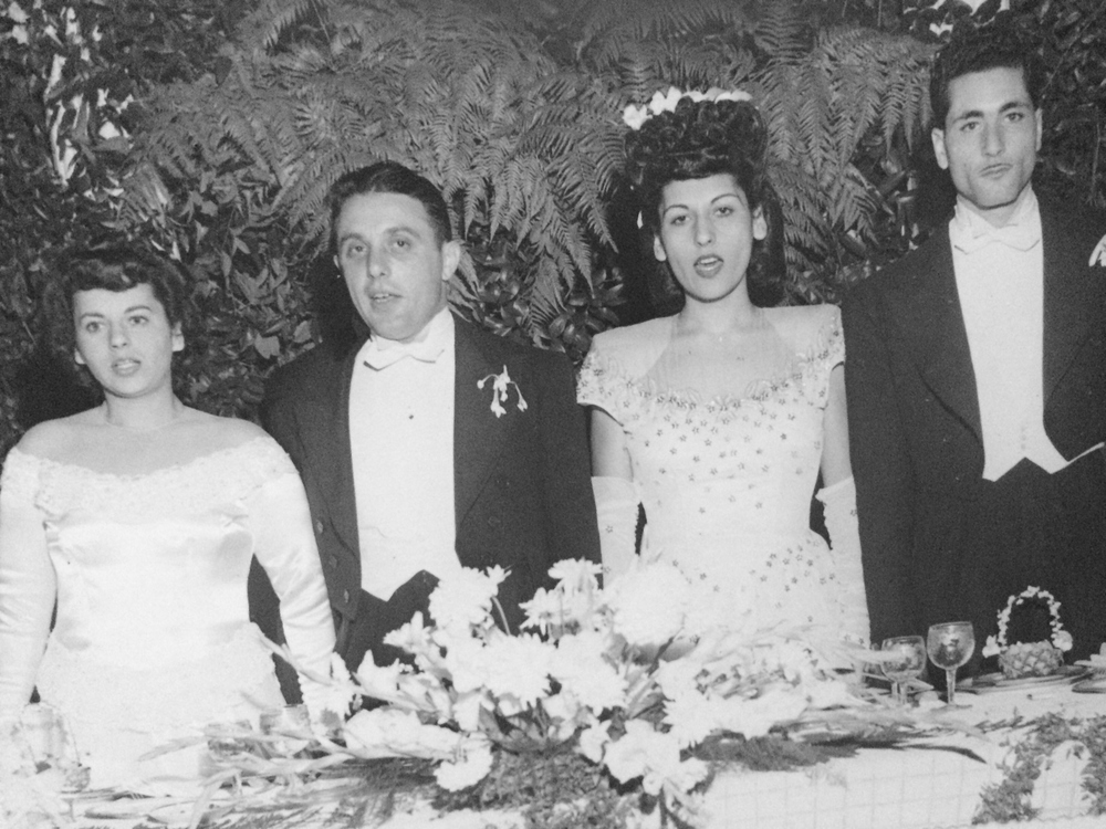 My parents, Stella and Abe. My Aunt Betty and Uncle Barry. Photo was taken at their double wedding in 1946.