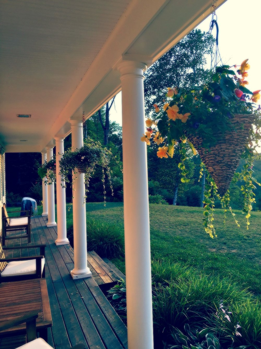 Our front porch at sunset.