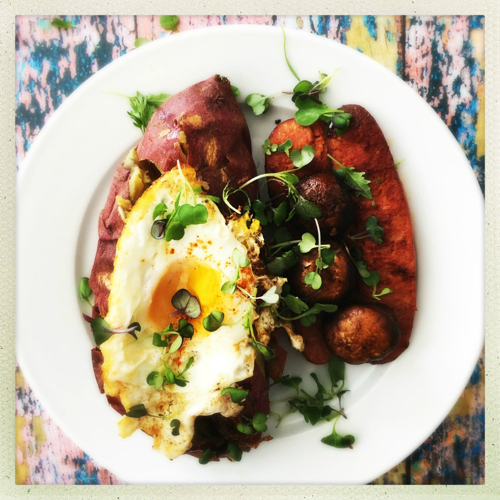 ©Roasted Yams with Eggs, Chorizo & Mushrooms by Dena T Bray