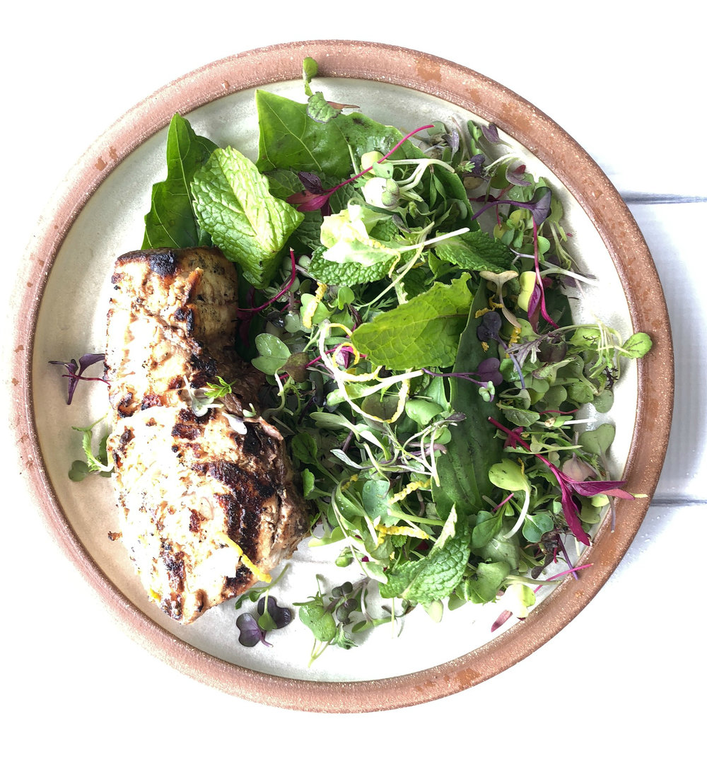 Grilled Swordfish with Spring Herb Salad - Yield: 4 Servings