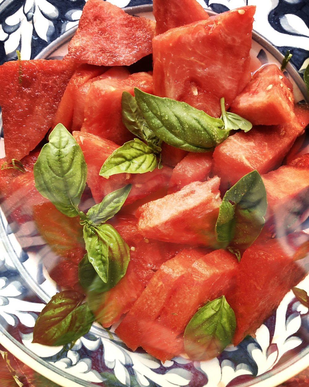 Chilled Watermelon Salad with Lime & Basil - Yield: 8 Servings