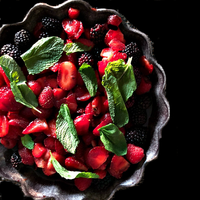 Mixed Berries in Grenadine with Mint - Yield: 4 Servings