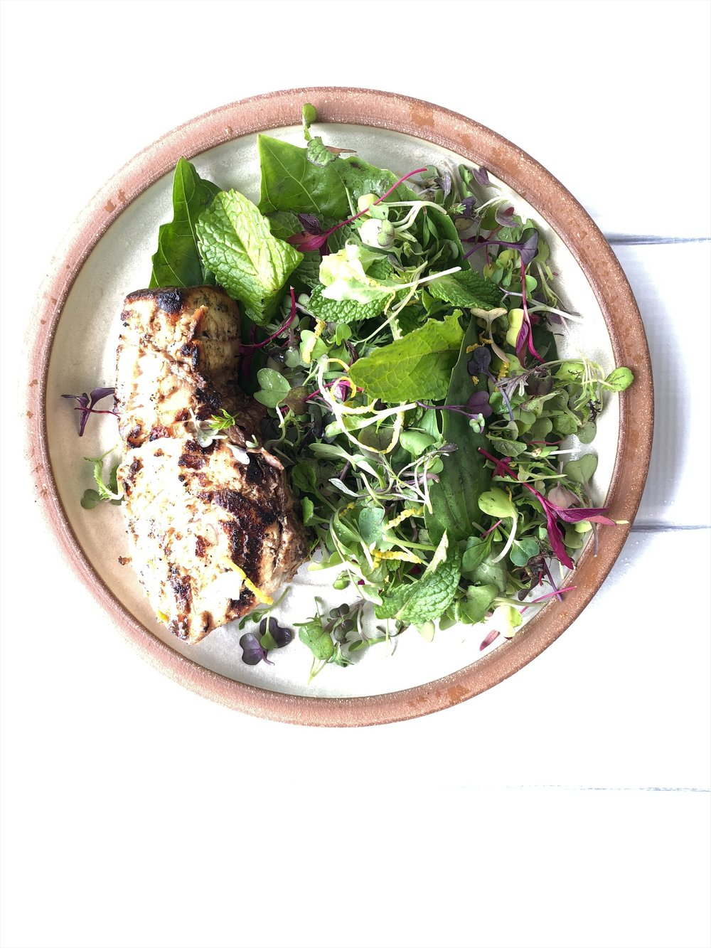 Grilled Swordfish with Herb Salad