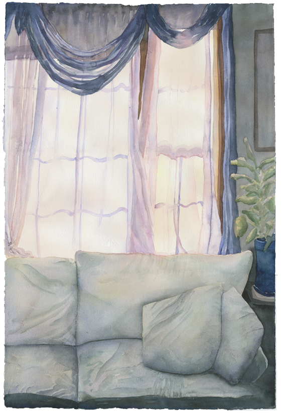 """First Living Room"", 2009, 15""x22"", watercolor on paper"