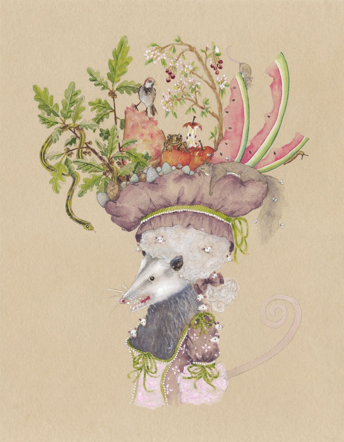 """""""The Opossum with a Hat of Oak, Fruit, Garbage, Small Animals, Eggs, and a Dead Squirrel"""", 2018, watercolor and gouache on tinted watercolor paper, 11"""" x 14"""""""