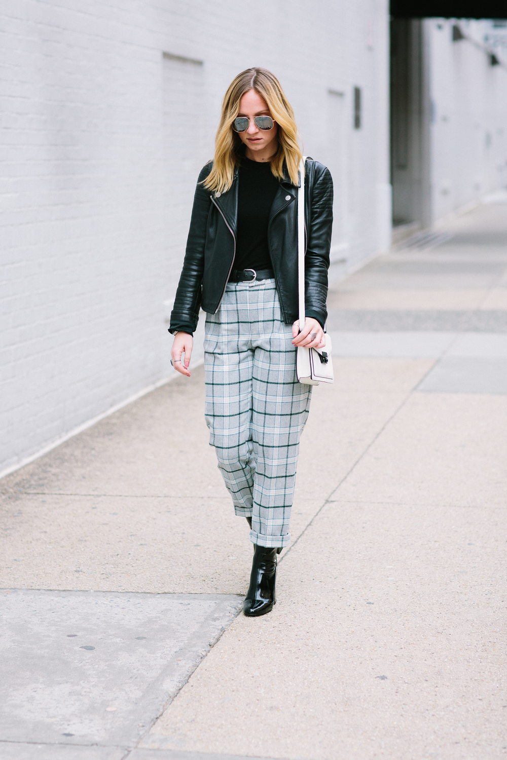 SFW outfit ideas with edge ASOS check boyfriend peg pant