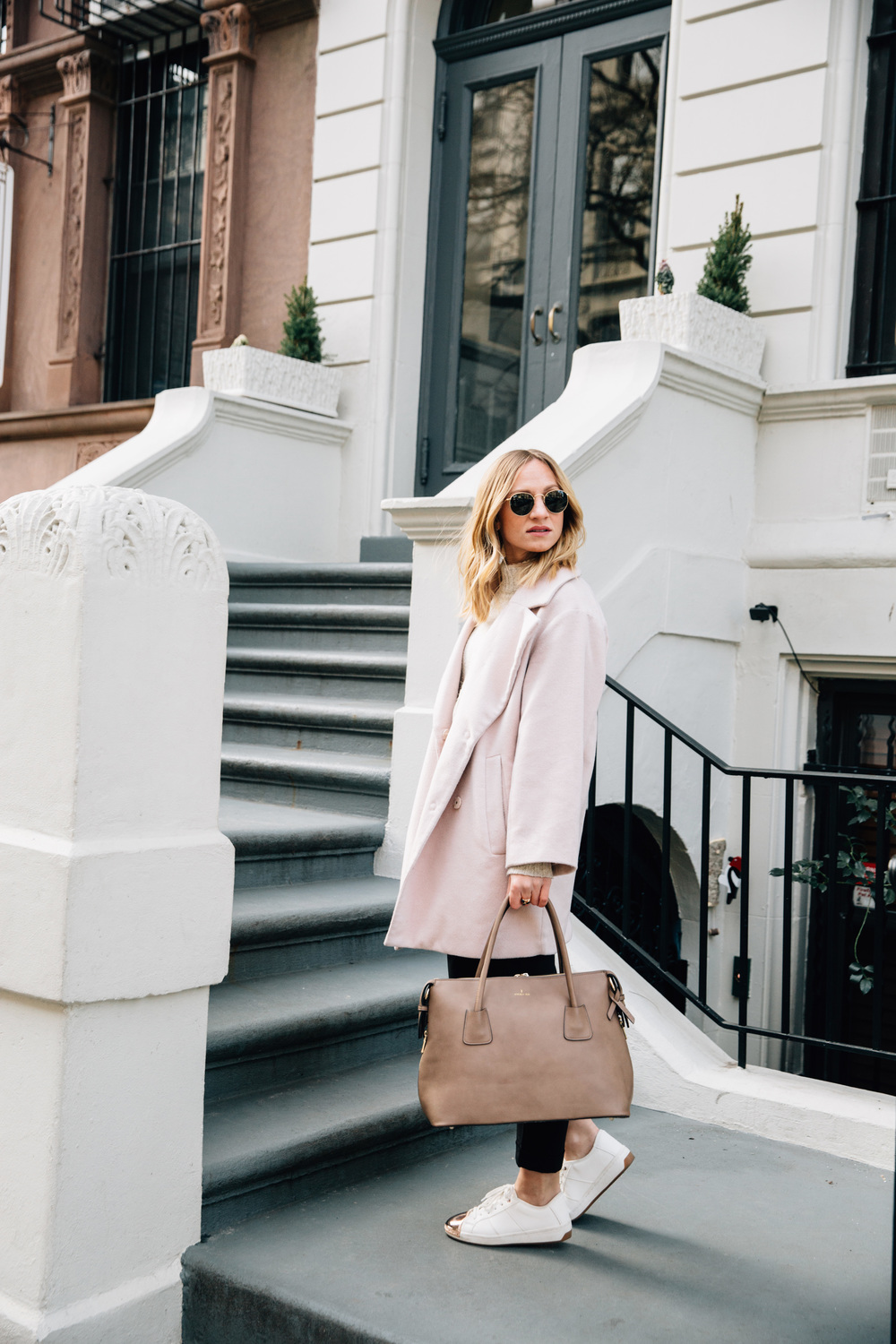 powder pink oversized coat
