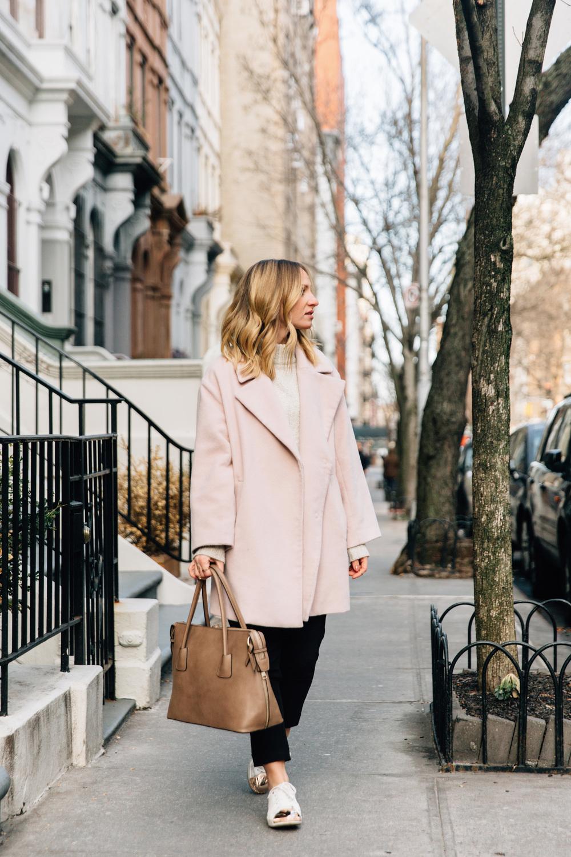 powder pink coat minimalist street style