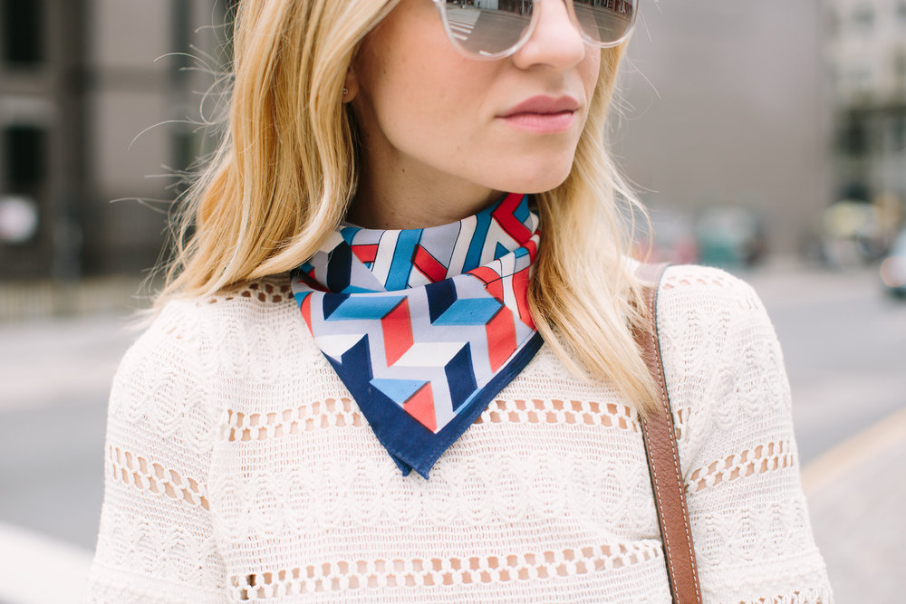 how to wear a square neck scarf