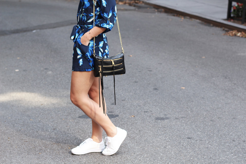 zara white sneakers with yumi kim floral romper