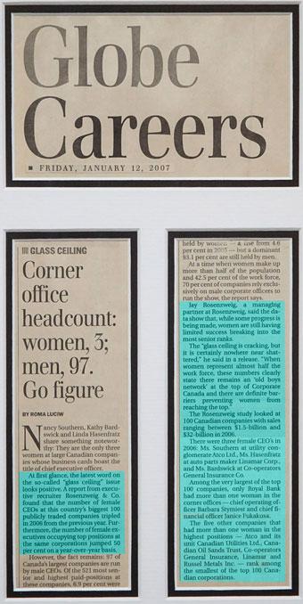 Corner office headcount: women, 3; men, 97. Go figure