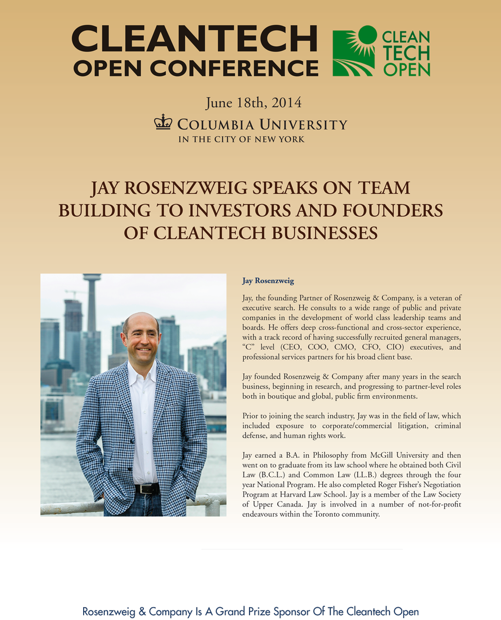 Jay Rosenzweig Speaks on Clean Tech Executive Recruitment at Columbia University