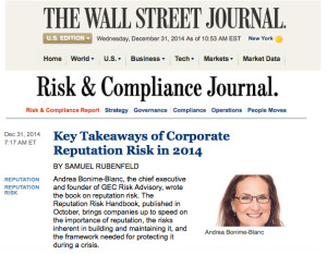 "Andrea Bonime-Blanc Interviewed on ""Key Takeaways of Corporate Reputation Risk in 2014"" by WJS: Samuel Rubenfeld"