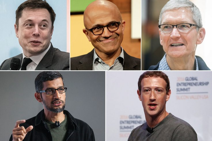 Tech vs Trump: (From top left clockwise) CEO of SpaceX Elon Musk, Microsoft CEO Satya Nadella, CEO of Apple Inc. Tim Cook, Facebook CEO Mark Zuckerberg, Sundar Pichai CEO of Google (Getty Images)
