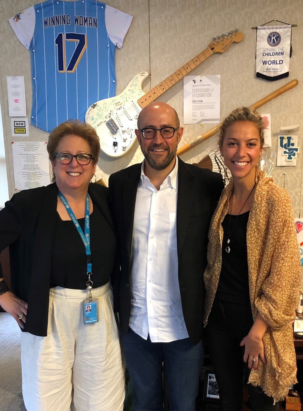Jay Rosenzweig, Caryl Stern & Chelsea Peters at Head Office of UNICEF USA in NYC 20180531.jpg