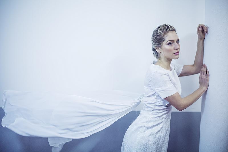 1960s vintage column wedding dress with chiffon train