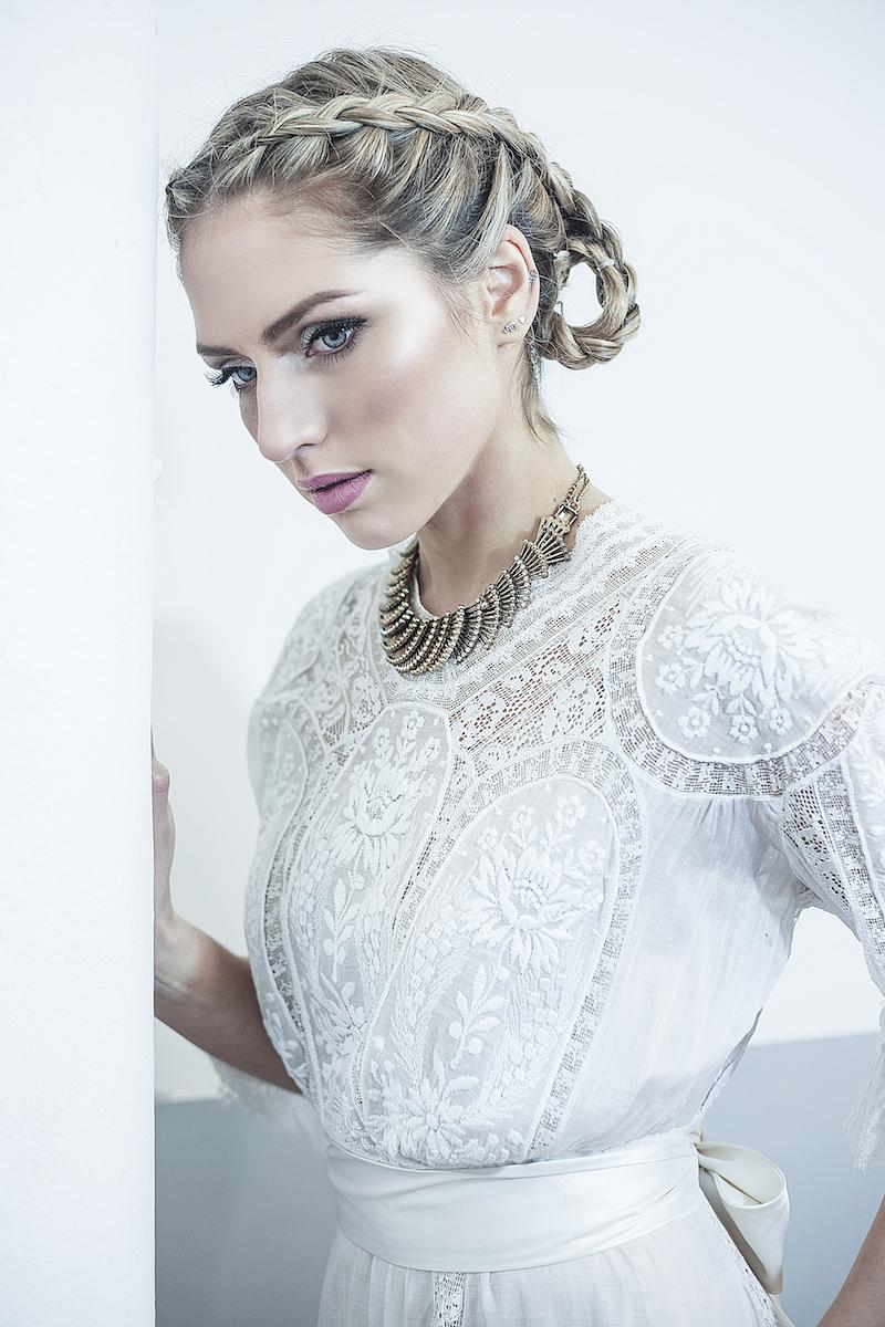 Edwardian boho cotton lace vintage wedding dress