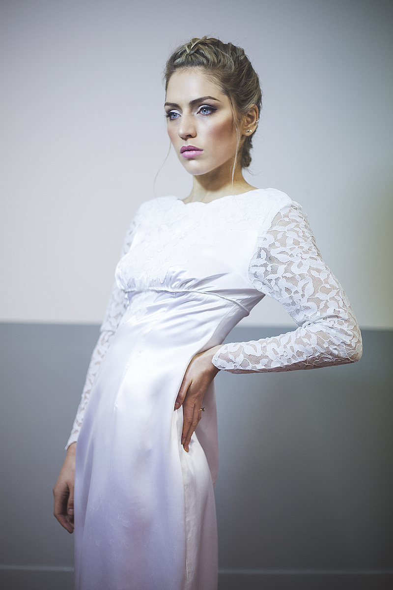 1960s vintage wedding dress with lace sleeves and scalloped neck
