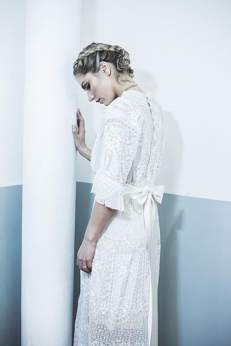Edwardian white lace vintage wedding dress