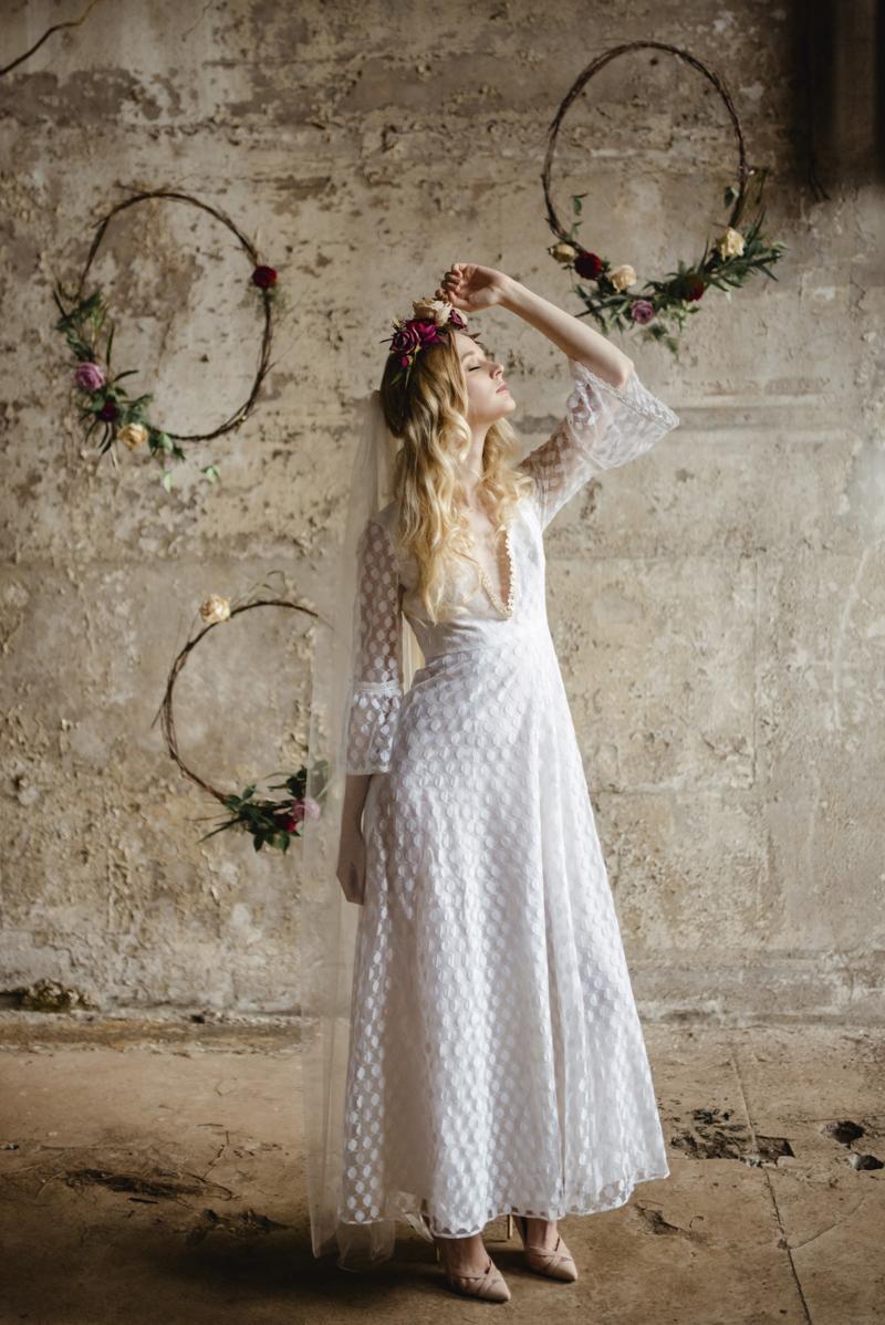 1970s v-neck vintage wedding dress with fluted sleeves