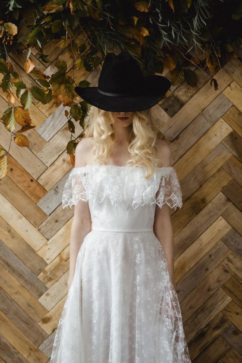 1970s off the shoulder vintage wedding dress