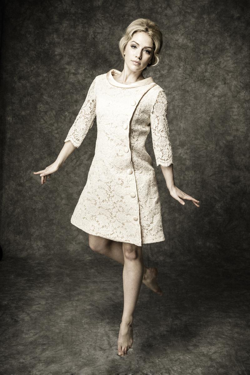 1960's vintage lace button up mini dress