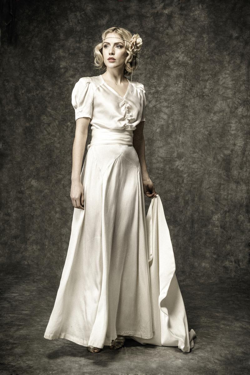 1930s silk satin vintage wedding dress