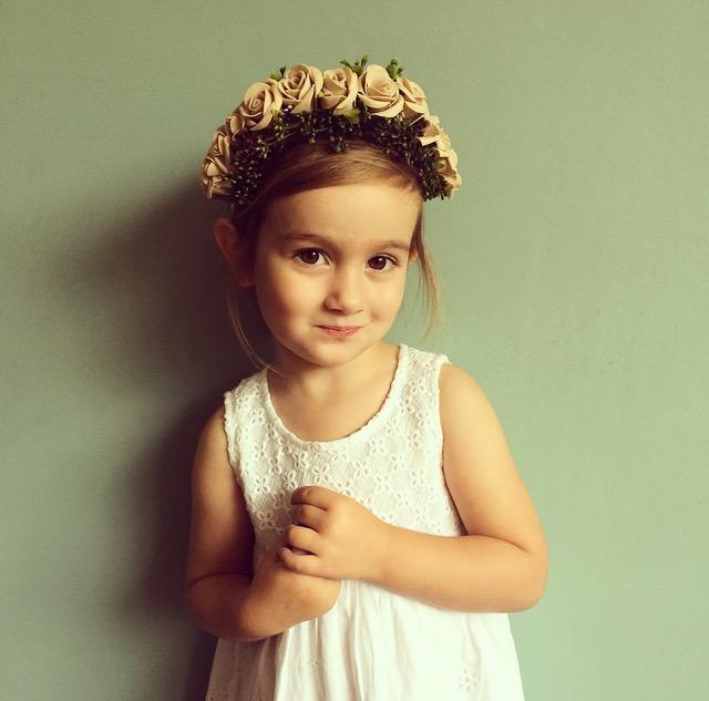 Nude flower crown flower girl hair
