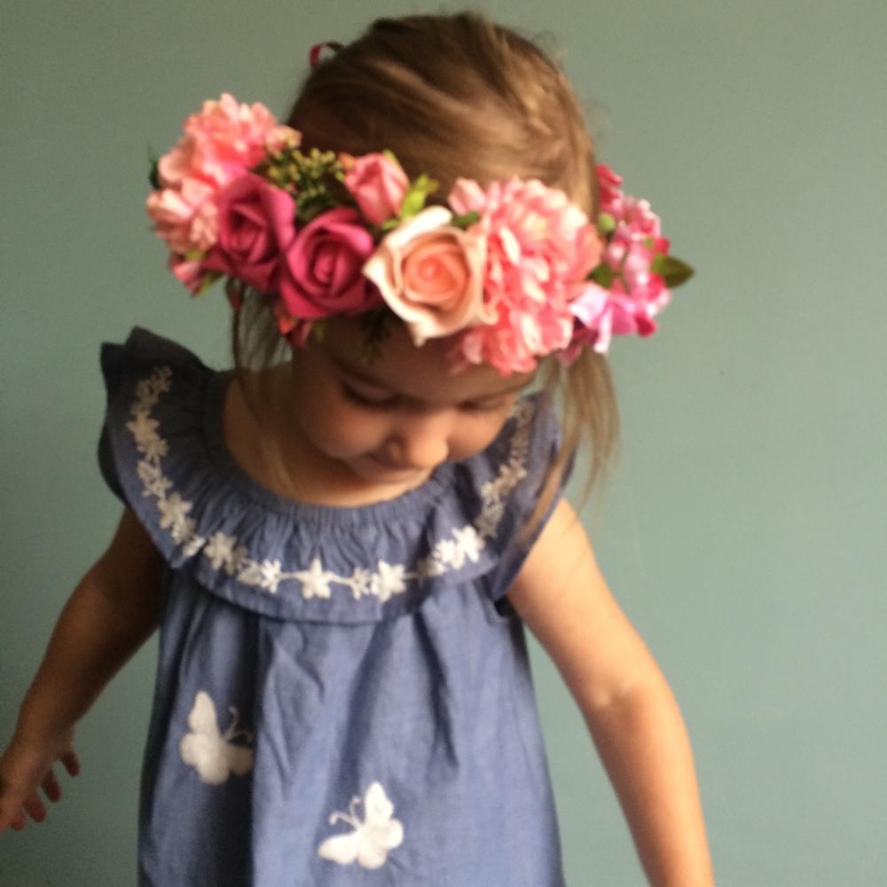 pink flower girl crown, boho weddings, bohemian style ireland