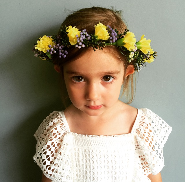 yellow flower girl crown, boho bridesmaids, flower crowns ireland