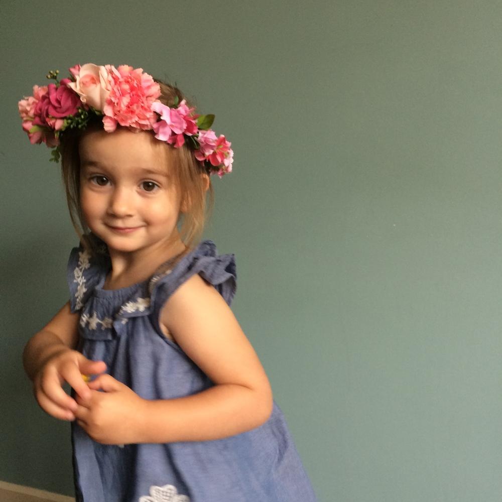 ALOHA flower crown, pink flower girls, cool bride, irish flowers