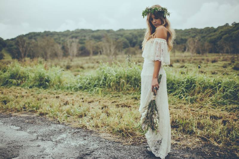 off the shoulder boho wedding dress -IRELAND